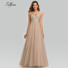 Elegant Blush Women Dress A-Line Double V-Neck Lace Embroidery Maxi Dress Sexy Ladies Long Party Dress Roupa Feminina 2019 цены