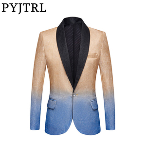 Image 1 - PYJTRL Mens Fashion Gradient Color Shiny Gold Blue Champagne Pink Black Slim Fit Blazer Stage Singer Prom Dress Suit Jacket