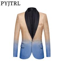 PYJTRL メンズファッショングラデーションカラーシャイニーシャンパンピンク黒スリムフィットブレザーステージ歌手ウエディングドレススーツジャケット