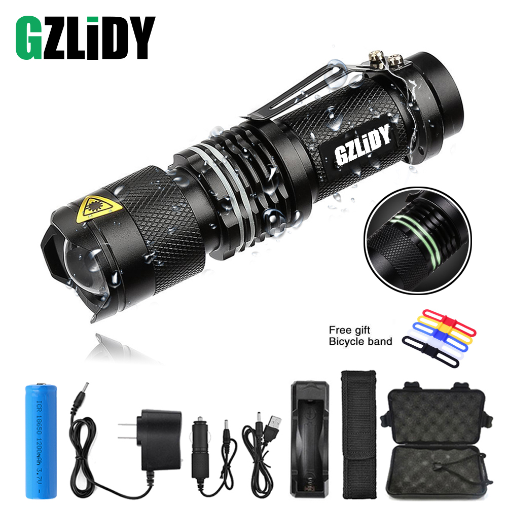 Super Brigh LED Flashlight Zoom L2 Led Lamp Bead Torch 5 Mode Mini Camping Lamp Waterproof Use 18650 Rechargeable Battery