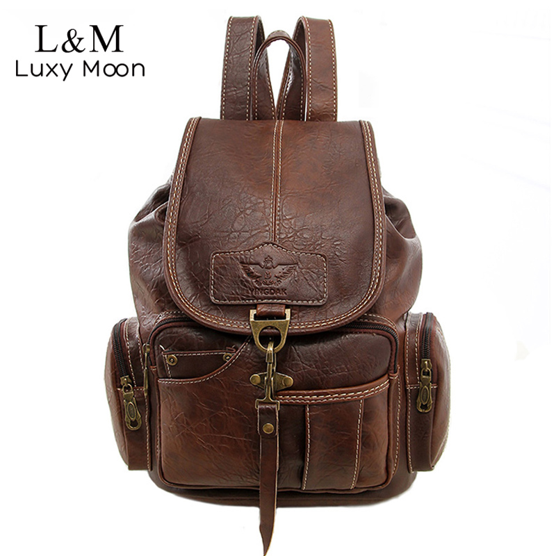 Vintage Women Backpack For Teenage Girls School Bags Large Drawstring Backpacks High Quality PU Leather Black Brown Bag XA658H