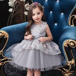 Vestidos de bebê menina bordados, flor, elegante, sem mangas, tutu, laço, princesa, vestido de festa de aniversário, roupas de bebê