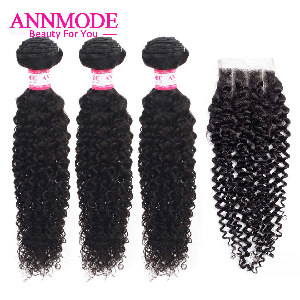 Brazilian Kinky Curly 3/4 Bundles With Closure Human Hair Weave Middle Three Free Part Hair Extension Non Remy Annmode