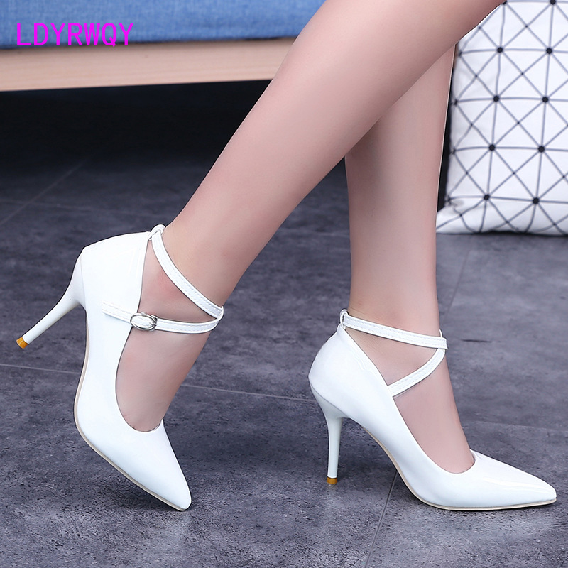 LDYRWQY  Autumn new pointed high heels shallow mouth stiletto heel ankle strap single shoes women nightclub women