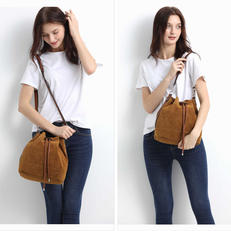 AFKOMST İpli kova çanta kadınlar için büyük kahverengi Crossbody çanta ve omuzdan askili çanta süet Tote çanta yüksek kaliteli HD-70186