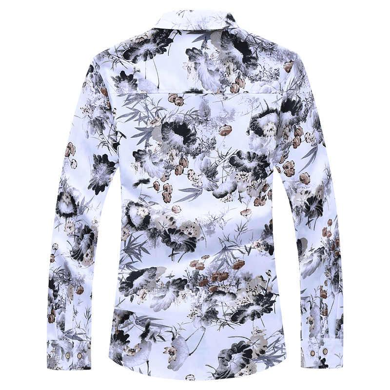 Мужская мода 2019, осенне-весенняя одежда, рубашка с длинным рукавом, большой размер M-5XL 6XL 7XL, гавайская пляжная Повседневная рубашка с цветочным рисунком для мужчин