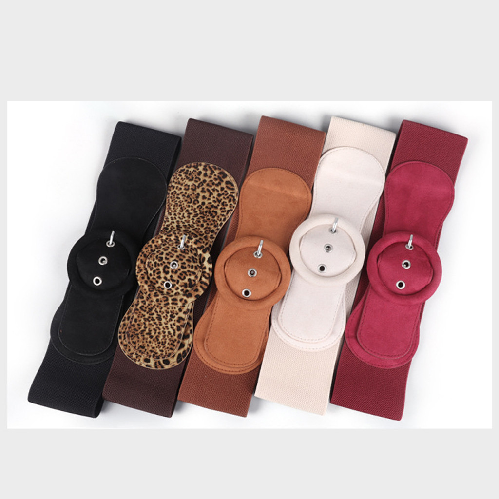 Fashion Women's Casual Leisure Wide Smooth Cummerbunds Suede Buckle Belt Dress Adornment
