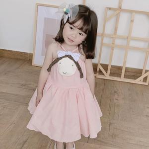 Детские летние платья; Одежда для маленьких девочек; Милое Повседневное платье на бретелях без рукавов с трехмерным рисунком куклы для мале...
