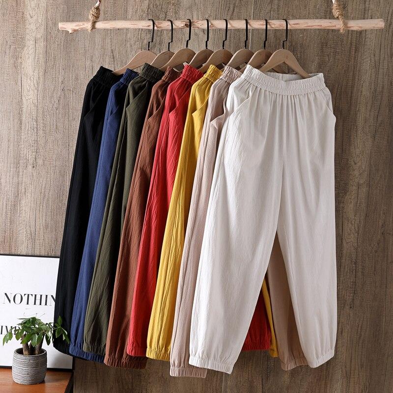 Plus Size Cotton Linen Trousers Women Summer Loose Harem High Waist Streetwear Pants Casual Pantalon Vintage Trouser M-6XL 7XL