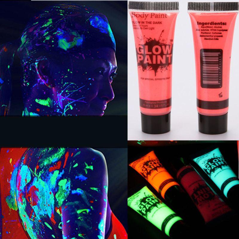 7 Pcs 25ml UV Glow Blacklight Luminous Face Body Paint Neon Fluorescent Pigment Pigment Powder M0XB