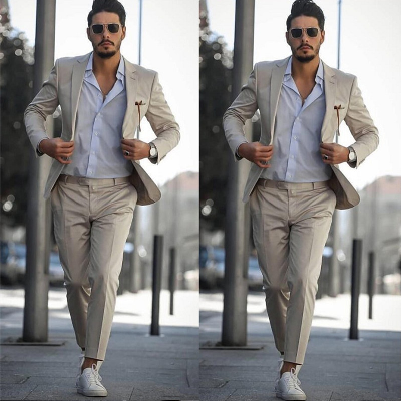 New Fashion Groom Tuxedos 2019 Notched Lapel Slim Fit Men Wedding Groomsmen Business Party Prom Suits (Jacket+Pants)