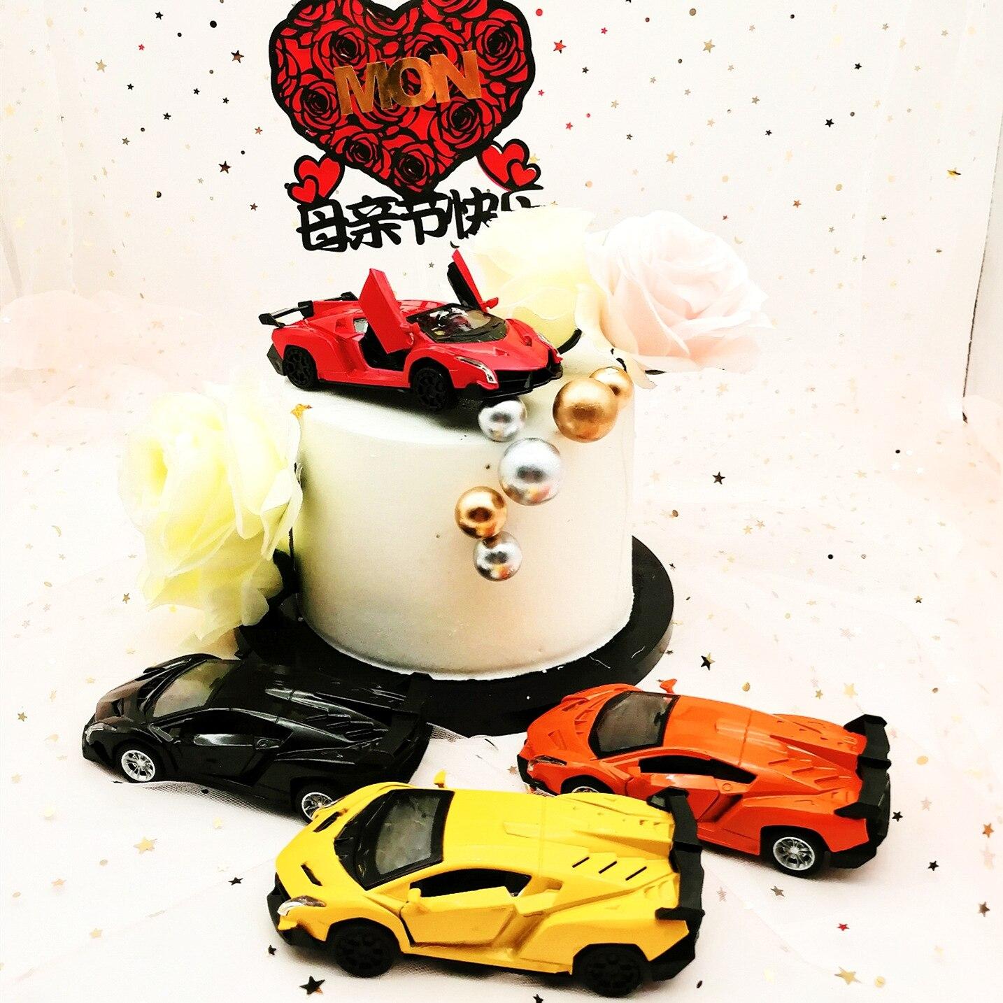 Remarkable Alloy Car Model Cake Decoration Poison Lamborghini Car Model Toy Funny Birthday Cards Online Kookostrdamsfinfo