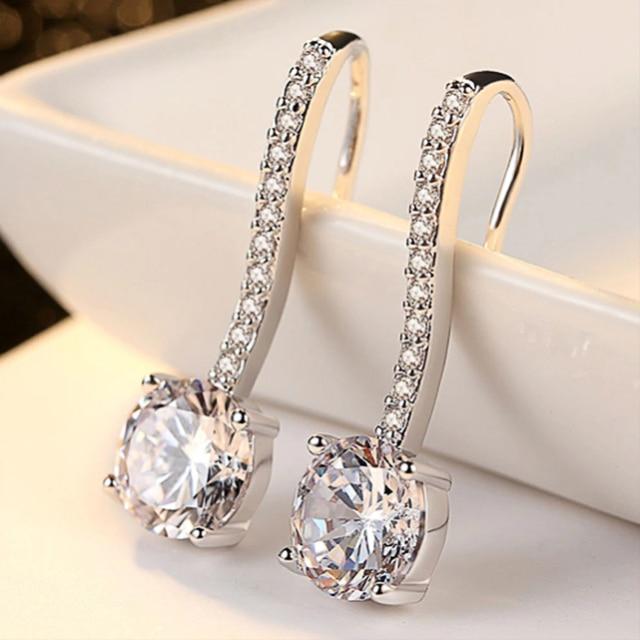 Hot Sale Women Earrings Luxury Inlaid CZ Stone Simple and Elegant Lady's Accessories Wedding Trend Earrings Jewelry 1