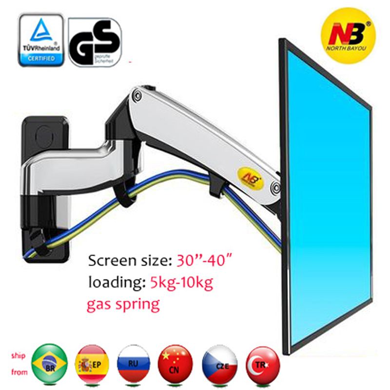 """NB F300 5-10kg aluminum Gas spring Monitor full motion 2 arm tv wall bracket LCD 30-40"""" tv mount monitor holder led stand(China)"""