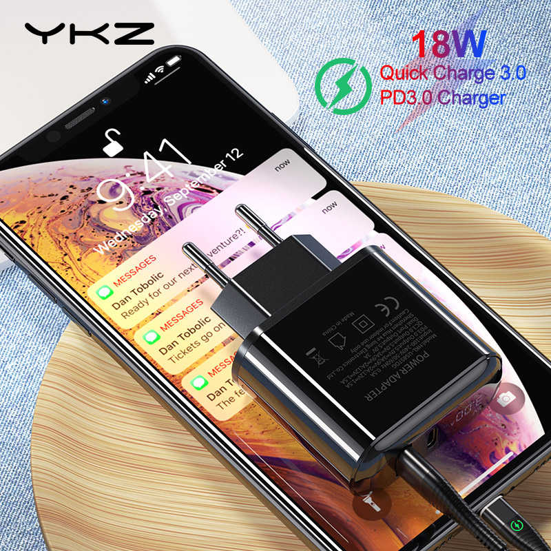 Ykz 18W USB Charger Quick Charge 3.0 USB TYPE C Charger untuk iPhone X QC3.0 PD3.0 Cepat Pengisian Ponsel charger Ponsel untuk Huawei