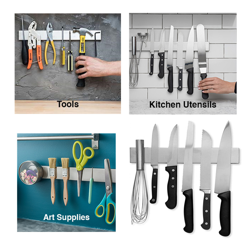 Neodymium magnet strong kitchen Stainless Steel Magnetic Knife Holder Professional Knife Strip Space Saving Knife Tool Holder