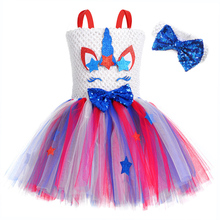 цены Kid Dress for Girl Birthday Party Unicorn Dress Red Blue Stars Pony Pattern Knee Length Summer Girl Dress with Bowtie Headband