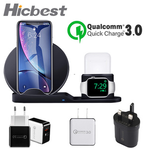 Image 1 - 3 in 1 Wireless Charger Stand for iPhone 8 X XR XS Wireless Charging Dock Station Magnetic Charger for Apple Watch 4 3 2 1 3in1