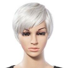 شعر مستعار اصطناعي شعر مستعار اصطناعي امرأة رمادي أبيض قصير مستقيم مقاومة للحرارة الباروكات