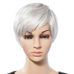 HAIRJOY Synthetic Hair Wig Woman Gray White Short Straight Heat Resistant Wigs