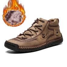 Men Shoes Sneakers Frosty-Boots Handmade Male Vintage Men's Retro Big-Size Winter Medium-Cut