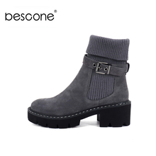 BESCONE Fashion Women Mid Calf Boots Buckle Handmade Square Heel Shoes New Winter Warm Round Toe Comfortable Ladies Boots BC241