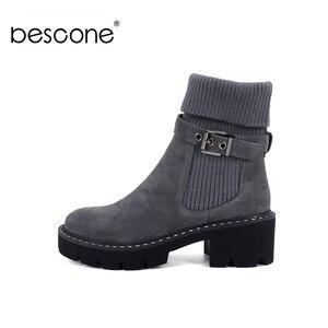 Image 1 - BESCONE แฟชั่นผู้หญิงกลางลูกวัวรองเท้าบูทรองเท้าหัวเข็มขัด Handmade สแควร์ส้นรองเท้าฤดูหนาวใหม่อบอุ่นรอบ Toe สบายสุภาพสตรีรองเท้า BC241