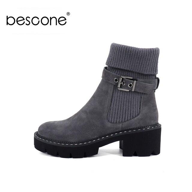BESCONE แฟชั่นผู้หญิงกลางลูกวัวรองเท้าบูทรองเท้าหัวเข็มขัด Handmade สแควร์ส้นรองเท้าฤดูหนาวใหม่อบอุ่นรอบ Toe สบายสุภาพสตรีรองเท้า BC241