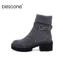 BESCONE moda kobiety buty ze skórki cielęcej klamra ręcznie robione buty na kwadratowym obcasie nowe zimowe ciepłe okrągłe Toe wygodne buty damskie BC241