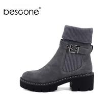 BESCONE אופנה נשים אמצע עגל מגפי אבזם בעבודת יד כיכר העקב נעליים חדש חורף חם עגול הבוהן מגפי נשים נוחות BC241