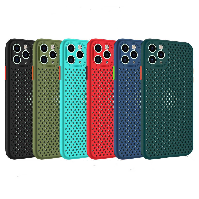 방열 통기성 냉각 전화 케이스 iPhone SE 2020 11 Pro Max XR XS Max X 8 7 6 6S 플러스 소프트 TPU 커버