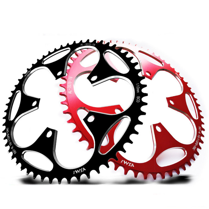 Bicycle Chainwheel Standard <font><b>110BCD</b></font> Round Shape Wide Narrow Crank Sprocket <font><b>50T</b></font>/52T/54T/56T/58T Variable Speed Chainwheel For MTB image