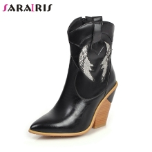 SARAIRIS New Autumn Plus Size 33-46 Brand Booties Lady Ankle Western Boots Women 2019 Fashion Black High Heels OL Shoes Woman