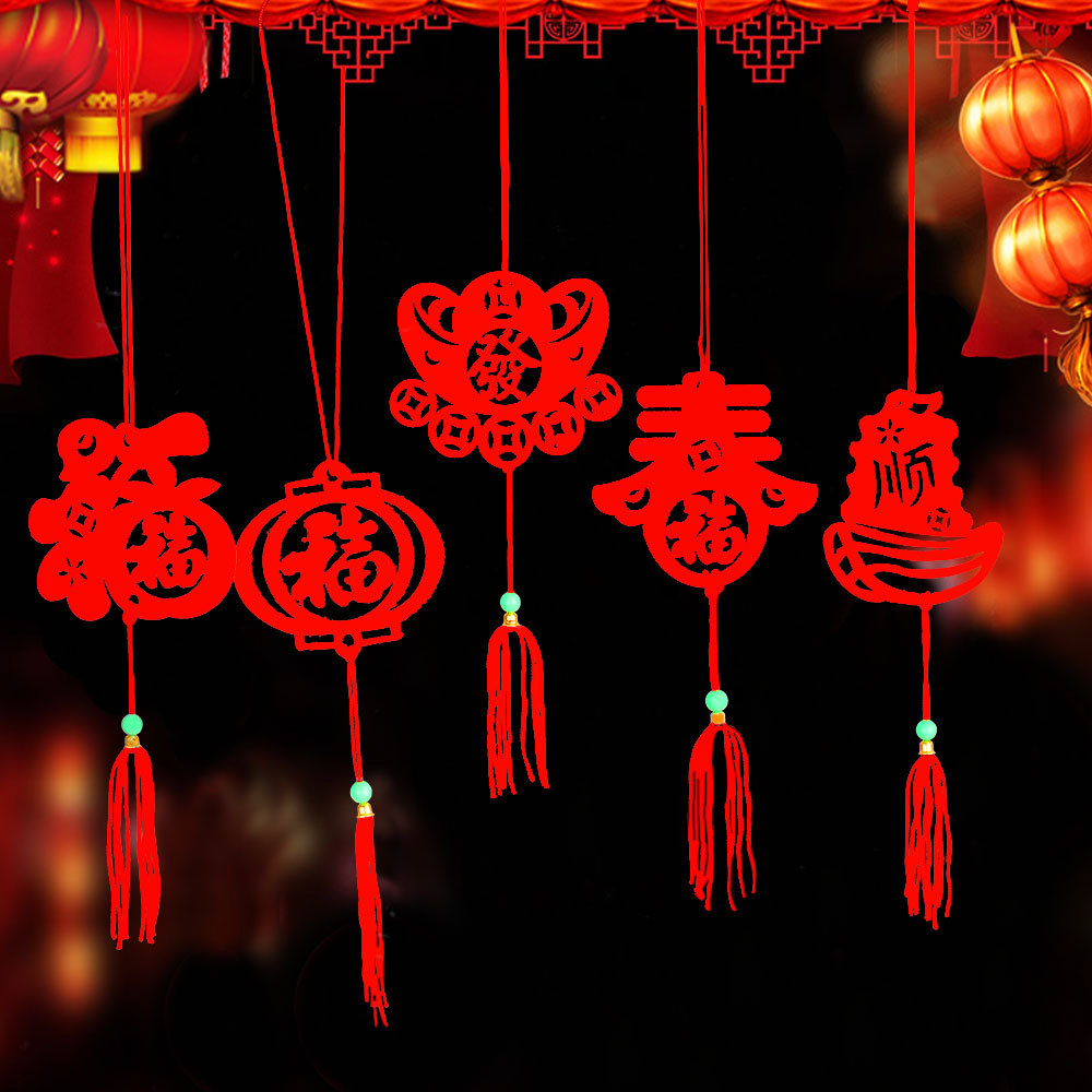6pcs/pack Chinese New Year Lantern Pendant  Chinese New Year Decoration Spring Festival Room Hanging Decoration Gift