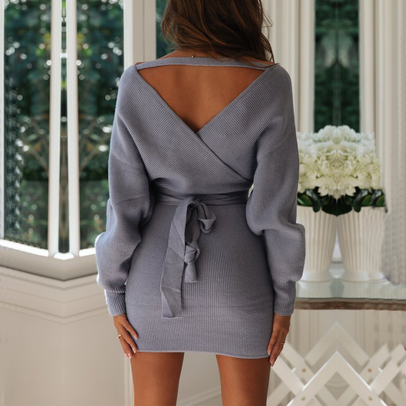 Elegant Open Back V Neck Wrap Sweater Dress Mini Autumn Winter Long Sleeve Knit Dress With Sashes Soft Warm Bodycon Dress Women in Dresses from Women 39 s Clothing