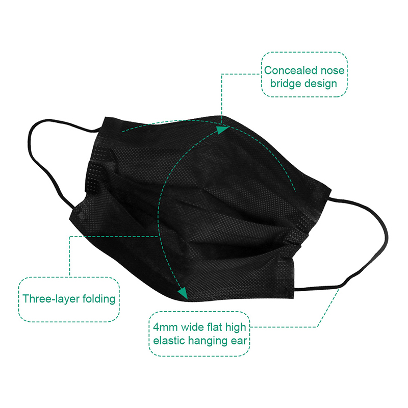Anti COVID-19 Black Adult Unisex Disposable Anti-pollution Mask Protective Fabric Anti-Dust Mask Single Packed