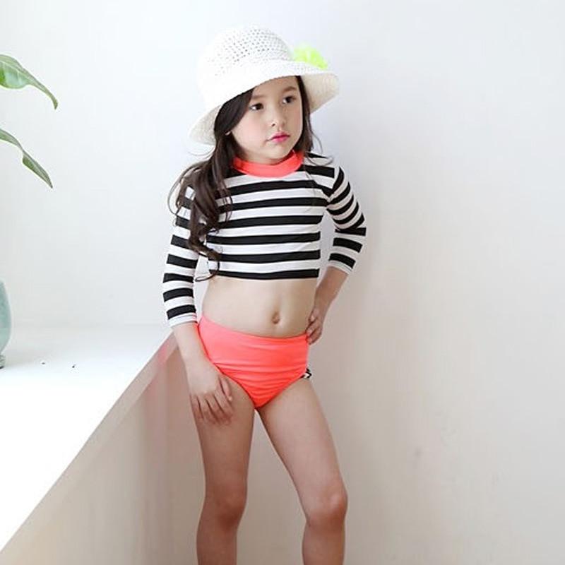 Haiyishan Korean Style Cute Children Sweet Middle And Large Small CHILDREN'S Children Split Type Warm Sun-resistant Swimsuit Fem