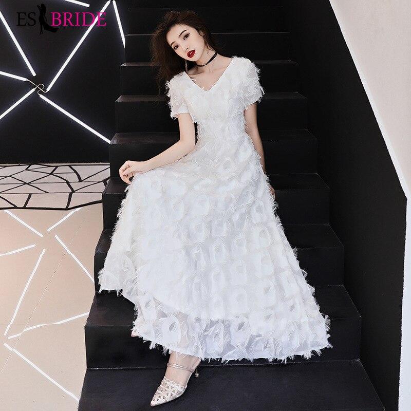 White Evening Dresses Sexy V-Neck Short Sleeve Formal Dress Women Elegant Long Autumn Robe De Soiree Abendkleider