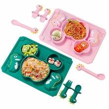 Bebê utensílios de mesa 3 pçs conjunto crianças placa de jantar do agregado familiar criativo dos desenhos animados garfo copo drop-resistant crianças pratos de alimentação para o presente