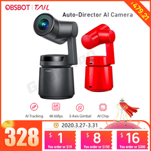 OBSBOT Cauda Auto Diretor AI Pista Câmera zoom automático captura até 4K/60fps vs insta360 um x evo 360 câmera