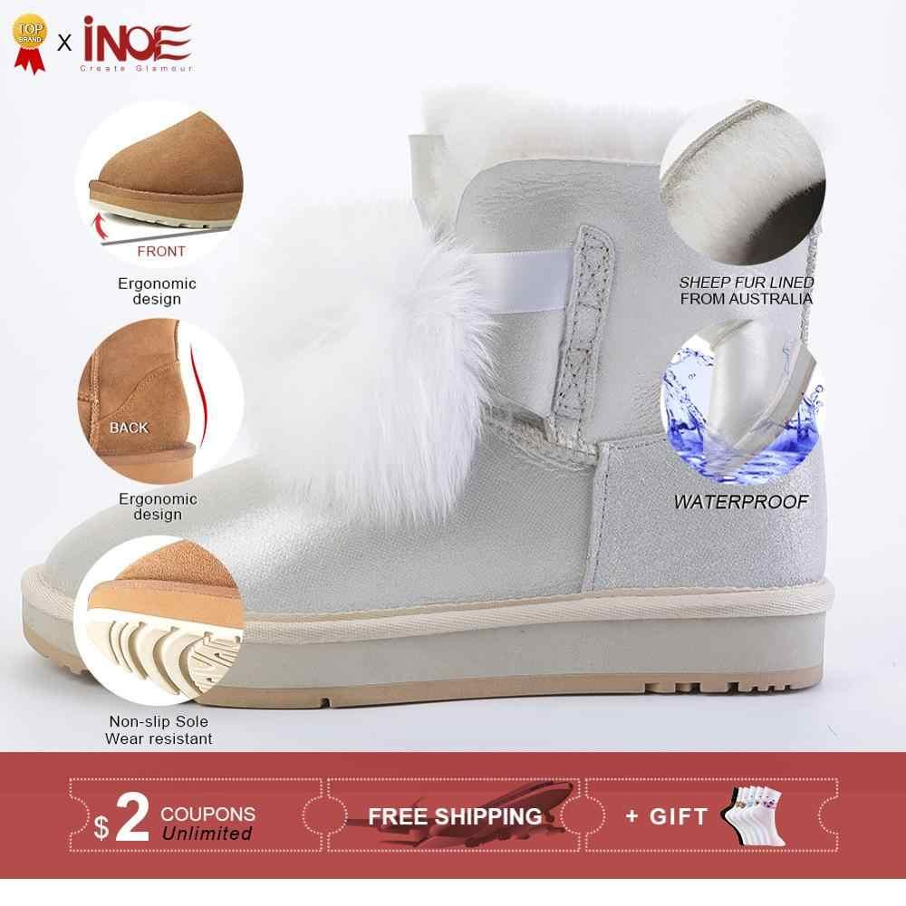 INOE yeni koyun derisi deri gerçek koyun kürk astarlı kadın kışlık botlar tilki kürk Pom-pom tarzı kar botları kadınlar sıcak çizmeler beyaz