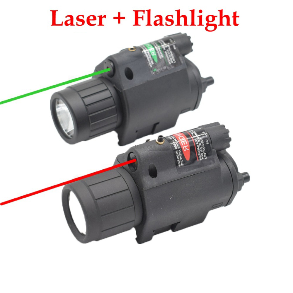 Tactical Hunting Cs LED Flashlight + Laser Sight for 20mm Rail Glock Beretta Airsoft Paintball Army Combat Pistol Gun Lights-0