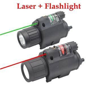 Tactical Hunting Cs LED Flashlight + Laser Sight for 20mm Rail Glock Beretta Airsoft Paintball Army Combat Pistol Gun Lights