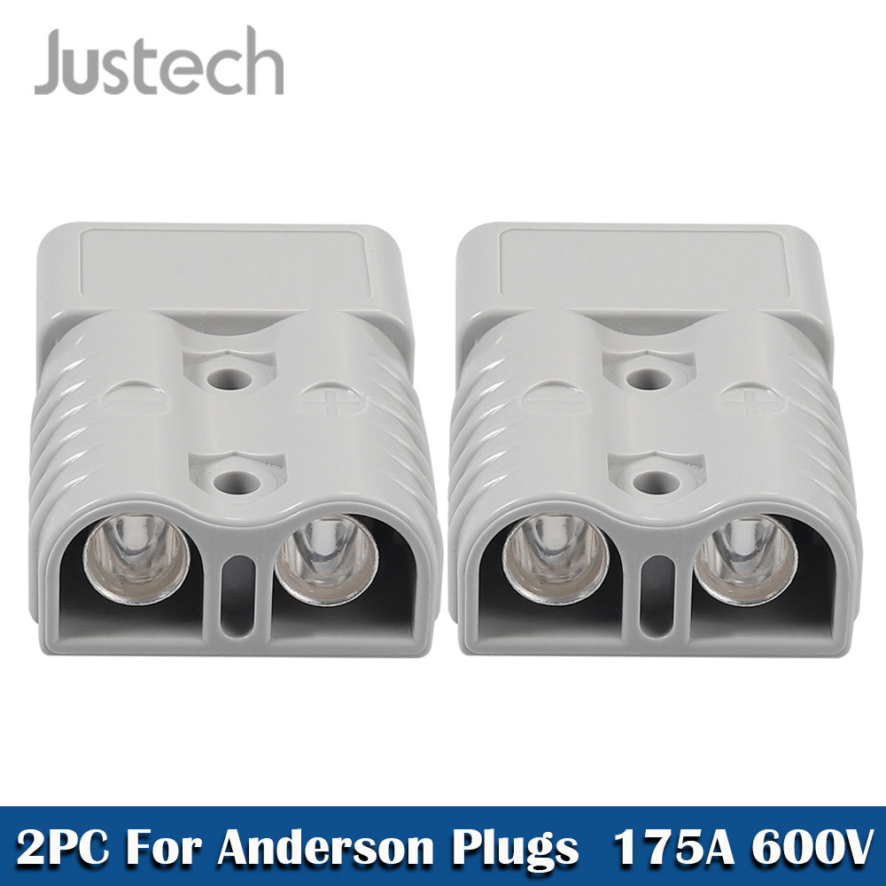 Justech 2PC For Anderson Style Plug Connector 175A 600V 1/0 AWG Silver Plated Solid Copper Terminal AC/DC Power Tool Accessories
