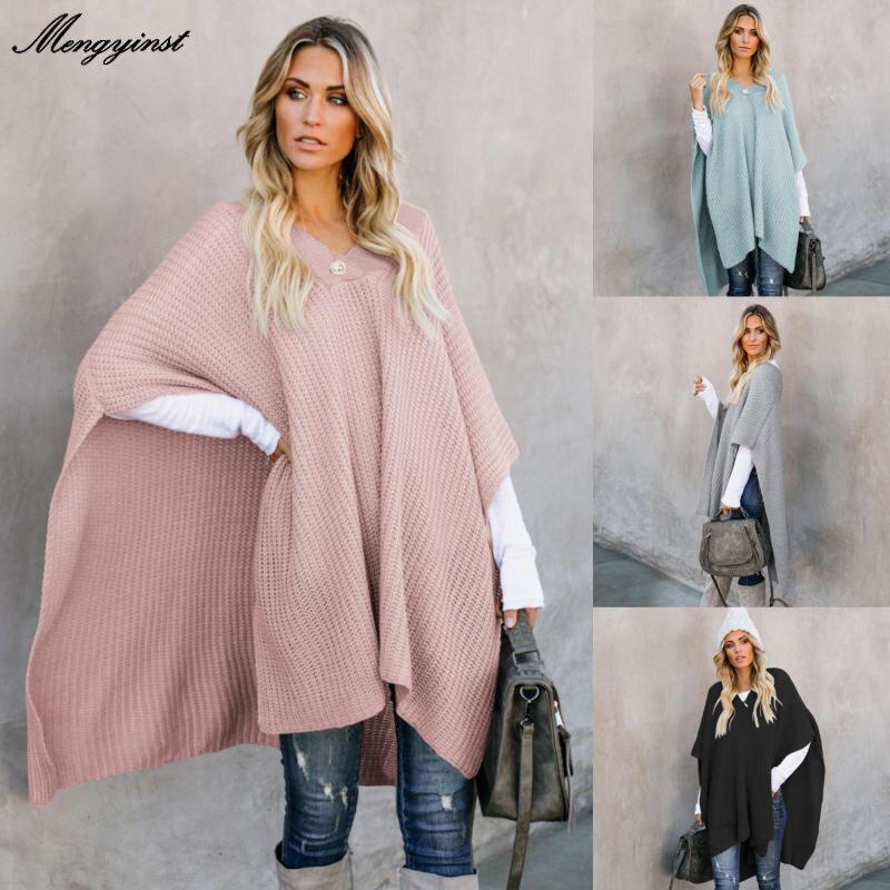 Womens Casual Cape Winter 2020 Slim Cape Coat Poncho V-neck Collar Cloak Long Knitted Jacket Korean Warm Luxury Grey Black Coat