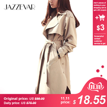 JAZZEVAR Outerwear Trench-Coat Spring Autumn Loose Khaki Long Fashion Casual Women's