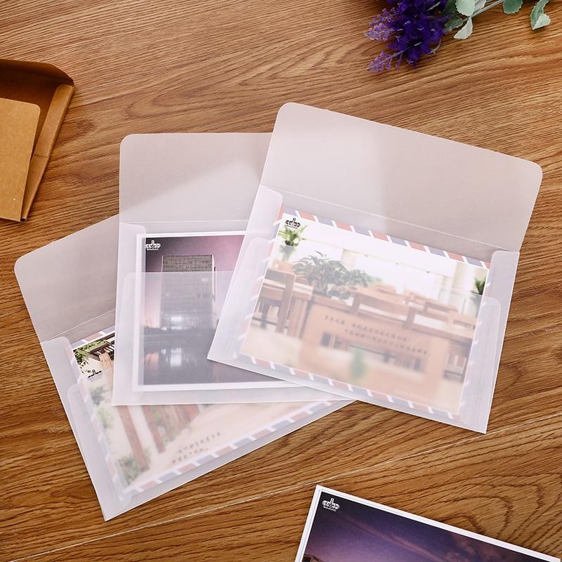 10 Pcs/Lot B6 Cute Transparent Sulfuric Acid Paper Envelope For Postcard Letter Gift School Office Stationary Supply Envelopes