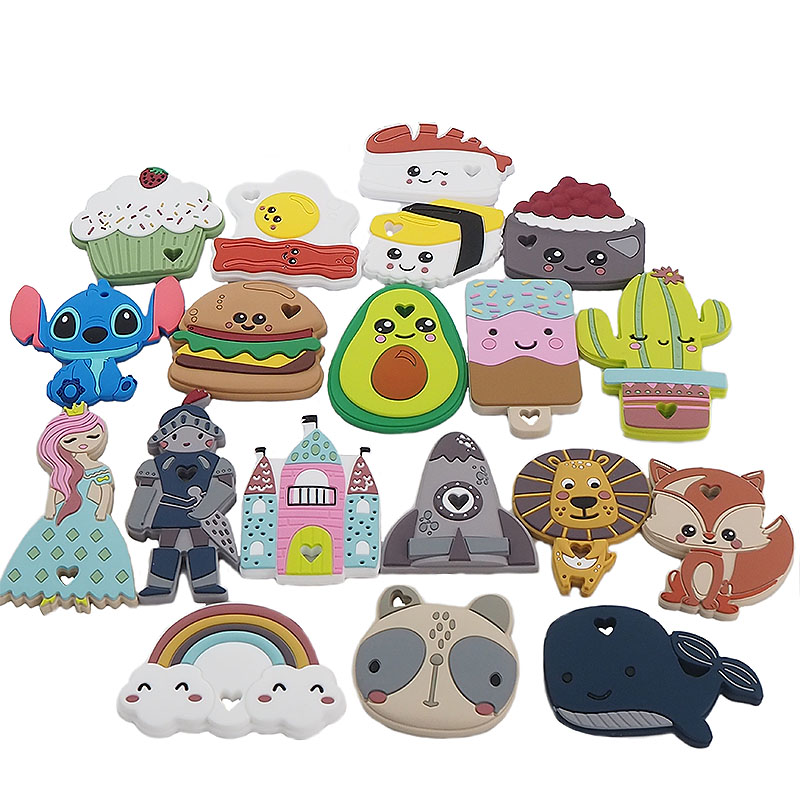 Chenkai 10pcs Silicone Teether Princess Soldier Lion Castle Rocket Sushi Rainbow Cake Fox Teething DIY Baby Dummy Accessory