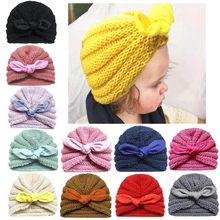 Winter Children Hat Toddler Kids Newborn Baby Boy Girl Knitted Knotted Hat Winter Warm Beanie Headwear Cap for 0-2 years Round(China)