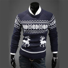 Mens Causal O Neck Sweater Deer Printed Autumn Winter Christmas Pullover Knitted Jumper Sweaters Slim Fit Male Clothes(China)